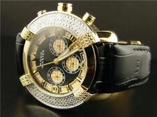 Mens Aqua Master 2 Tone Yellow Gold Finish Leather Band 45MM Diamond Watch W#96