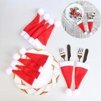 10Pcs Weihnachten Besteckhalter Utensil Kleine Hut Beutel Taschen Tischdekoratio