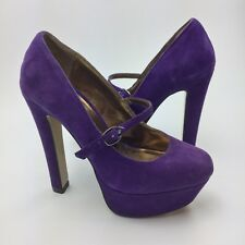 Aldo Platform Mary Jane Pumps EURO 36 Size 6 Purple Chunky Suede High Heels Shoe