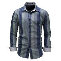 Korean Fashion Men's Striped Casual Shirt Business Dress T shirts Slim Tops
