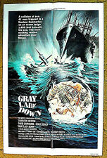 """""""GRAY LADY DOWN"""" -- TRAPPED  in a sunken submarine CHARLTON HESTON - 1978 poster"""