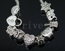 10/100pcs Mixed Tibetan Silver Bulk Lots big hole European Charms Beads