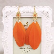 Earrings Boho Festival Boutique Uk Orange Luxury Feather Long Tassel Fashion