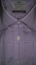 """Harvie & Hudson 15""""/35"""" 100% Cotton Purple POW Check Shirt Double Cuff Reg Fit"""