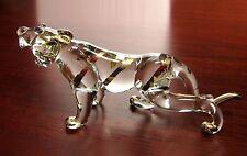 TIGER Handmade Blown ART GLASS FIGURINE MIniature Gold Trim  GIFT - CUTE