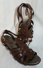 Clarks Bendables 11M Women's Leather Sandal Wedge Buckle Closure Ankle Woven