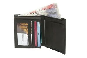Mens Luxury Soft Quality Leather Wallet 8 Credit Card Holder Black Coin Pocket