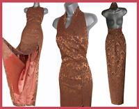 KAREN MILLEN 14 Vintage Honey Jacquard Halterneck Oriental Style Long Maxi Dress