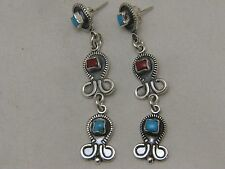ANTIQUE 925 STERLING SILVER TURQUOISE & CORAL WONDERFUL FISHES EARRINGS SIGNED