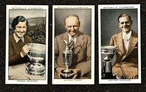 1936 MITCHELL GALLERY OF 1935 SUBSET OF ALL 3 GOLFERS GOLF CIGARETTE CARDS MINT