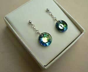 SALE: 9ct White Gold Sun chain drop earrings, Sahara Swarovski elements crystals