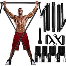 MALOOW Adjustable Pilates Bar Kit with Resistance Bands,Portable Yoga Exercise