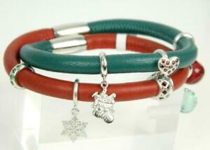 """ENDLESS Green/Red Leather Wrap CHRISTMAS HOLIDAY Sterling 7 Charm Bracelet 6.75"""""""
