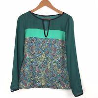 Zara Green Multicolour Colourblock Paisley Print Longsleeve Top Small 8 10