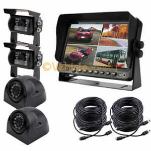 "7"" Quad Monitor DVR Video Recorder 4 x Camera Truck Backup CCD Camera System"