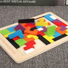 Colorful 3D Puzzle Wooden Tangram Math Toys Tetris Game Children Pre-school