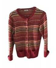 Vintage Tiara International Sweater Cardigan Button Multicolor Red Medium Petite
