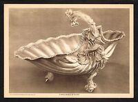 1910s Antique Vintage Silver Shell Basket Salva Tray Photo Gravure Print