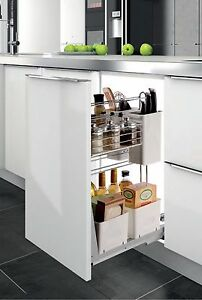 PULL OUT SPICE RACK UNDER COUNTER IN KITCHEN CABINET SHELVES MULTI PURPOSE