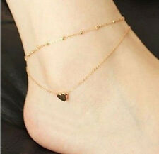 1pc Gold Tone Love Heart Ankle Bracelet Double Layer Chain Sexy Foot Anklet