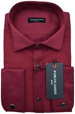 PABLO CASSINI Smokinghemd Bordeaux Rot mit Plisseefalten und Manschettenknöpfe