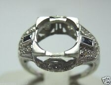 Antique Engagement Setting Platinum Hold 9-9.5MM Ring Size 6.25 Art Deco Vintage