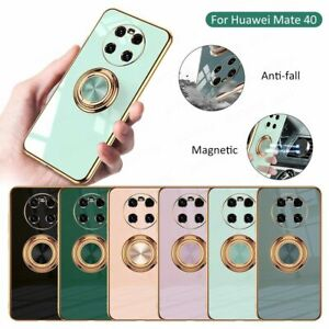 For Huawei Mate 40 Pro / Plus Luxury Magnetic Plating Ring Holder Case Cover