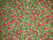 "Vintage Christmas Feedsack Cotton Holly & Berries 1940's 1 Yd.+ 16"" L x 36"""