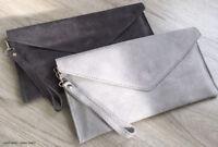 Silver Grey Wedding Clutch Bag Evening Bag Oversize Envelope Suede Made in Italy