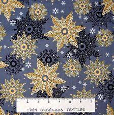 Christmas Fabric - Celebrate the Season Gold Snowflake Quilting Treasures YARD