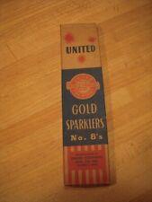 Vintage UNITED FIREWORKS GOLD SPARKLERS 8's July 4 - Rare Box - NOS