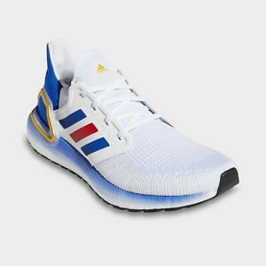 Men's Adidas UltraBoost 20 Running Shoes White / Blue / Red Sz 12 FY9039