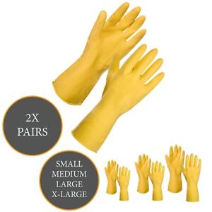 2x Rubber Washing Up Cleaning Gloves Latex Non-slip Work Household Kitchen S-XL
