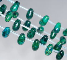 """TURQUOISE CHRYSCOLLA GEMSTONE TOPDRILL BRIOLETTE TEARDROP 11X7MM LOOSE BEADS 16"""""""