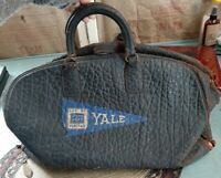 OLD Antique Doctor's Teacher's Large Black Leather Medical Bag Yale Pennant