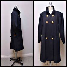 VTG 80s SARA ROBERTS/JACOBSON'S Black Wool Gaberdine Coat w Hip Back Belt Size 6