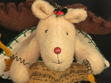 CHRISTMAS CAROL  BROWN REINDEER ANGEL WINGS MUSIC HOLIDAY PLUSH STUFFED ANIMAL