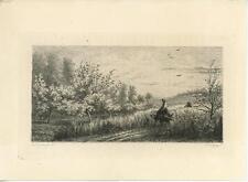 ANTIQUE DONKEY WOMAN SPRING GRASS PATH GARDEN ED. HEDOUIN RARE ETCHING ART PRINT