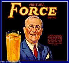 Camarillo Ventura Force Franklin Roosevelt Orange Citrus Fruit Crate Label Print
