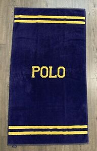 "Ralph Lauren Home 27""x 50"" Vintage Beach Bath Towel Blue Gold Yellow Polo USA"