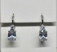 Echt 925 Sterling Silber Ohrringe Ohrhänger Zirkonia crystal Oval Nr 438