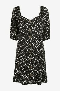 NEXT Black Polka Dot Spot Tie Sleeve Button Front Dress Size 16 BNWT Holiday