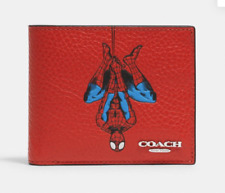 Coach 1845 Marvel Comics 3-In-1 Red Leather Spider-Man Wallet ID Holder Billfold