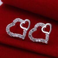 ASAMO Damen Ohrstecker Herz mit Zirkonia Ohrringe 925 Sterling Silber plattiert