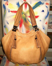 B. Makowsky Lrg Tan Leather Hobo Shoulder Bag Handbag Purse w Zip's Pockets