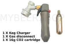KEG CHARGER + DISCONNECT + 16g CO2 CARTRIDGE INJECTOR HOME BREW BEER DISPENSER
