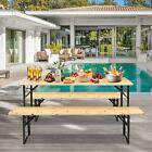 3 PCS Camping Wood Picnic Table Beer Bench Dining Set Folding Wooden Top Patio