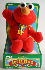 "RARE 1998 SESAME STREET SUPER ELMO 11"" PLUSH TOY TYCO EUROPEAN NEW MIP !"