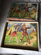 Victory Wooden Jigsaw Puzzle Cowboys And Indians Used Condition Vintage
