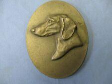 Pewter Dachshund Dog Sculpture Louise Shattuck Plaque Paperweight Hudson